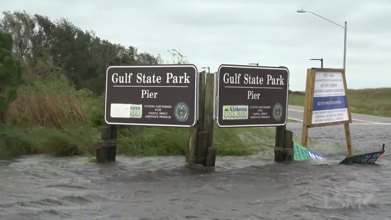 9 16 20 Gulf Shores AL Poles Snapped Roof Damage Storm Surge Road Flooding