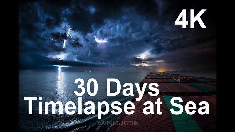 30 Days Timelapse at Sea 4K Through Thunderstorms Torrential Rain Busy Traffic