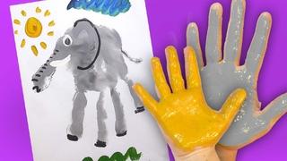 Как нарисовать Слона своими руками (Ладошками), Handprint