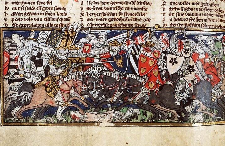 Битва на Каталаунских полях 15 июля 451 года. Миниатюра из манускрипта «Зеркало истории». Нидерланды, около 1325–1335 годов