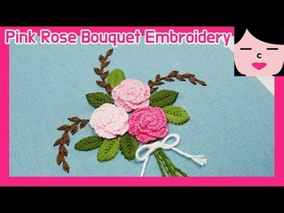 Cast on stitch pink rose bouquet hand embroidery 캐스트 온 스티치 로즈 꽃다발 프랑스자수