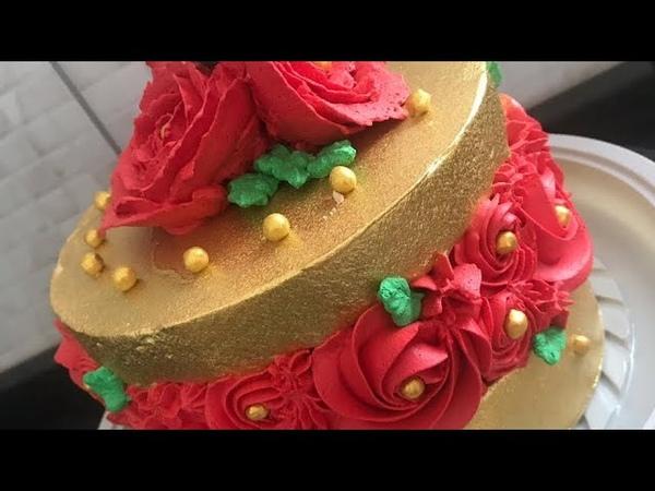 Bolo Bico Embutido Vermelho e Dourado (Comemoração e agradecimento aos 5k) ❤️