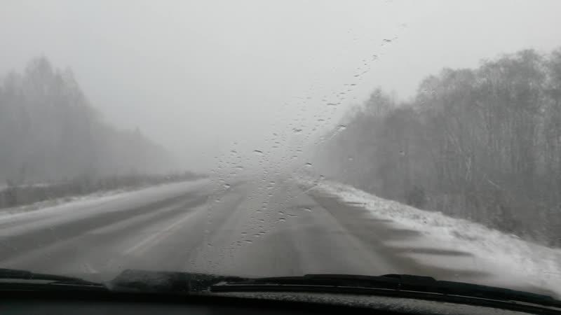 Едем в Тарногу часть 3 снегопадная