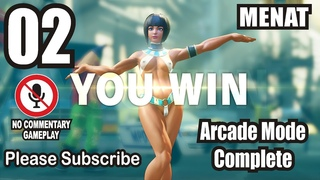 Menat Arcade Gameplay Complete #02 Menat Illumination Mod Sexy Semi Nude Street Fighter 5 Offline