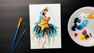 БАЛЕРИНА • Как нарисовать балерину • Рисование для начинающих • Как самостоятельно рисовать картину