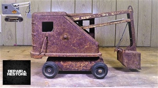 Rusty Well Loved 1950's Marx Steam Shovel ( AWESOME RESTORATION )
