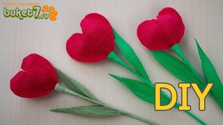Тюльпан - сердце из гофрированной бумаги  Подарки на 14 февраля  Валентинка своими руками  Diy