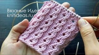 Красивая, ажурная резинка для носков! Вязание по кругу!