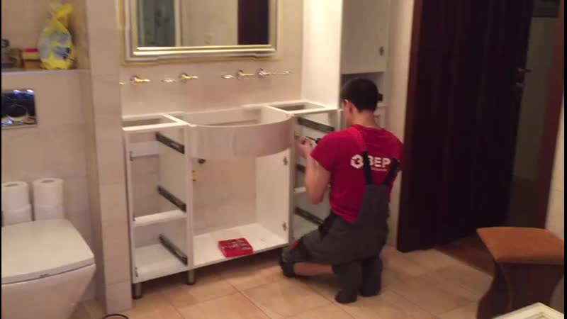 Установка комплекта мебели в ванную mp4