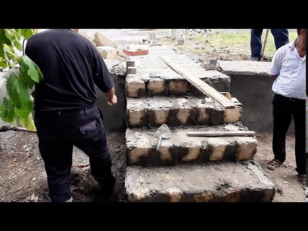 MKTİB işçiləri tərəfindən Həzi Aslanov küçəsində yeni pilləkən tikilməsi