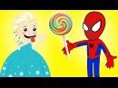 Человек паук и холодная Эльза / Плачущая Эльза хочет леденец от Человека паука