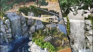 Ultra Realistic Waterfall Destroyed by People with Bell UH1 and Cargo 2.5 ton 6x6 truck