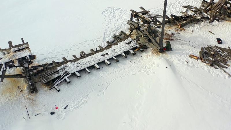 Начало демонтажа Белорецкого деревянного пешеходного моста