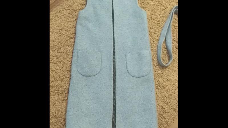 Новый жилет Masha Tsigal🔥цвет голубой 💙 указан 46 идёт на 40 42 44 рус или xs s 2 накладных кармана пояс длина 100 см