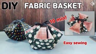 DIY TIE-UP FABRIC BASKET/ Super Easy Candy Basket in 10min / sewing tutorials [Tendersmile Handmade]