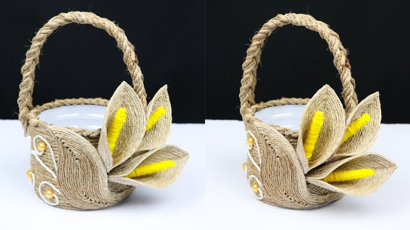 How to make a beautiful basket with jute rope and plastic bottle | best out of waste