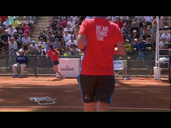 Nick Kyrgios Racquet, Chair Bottle Abuse Rome ATP Masters 1000, 16 May 2019, New John McEnroe