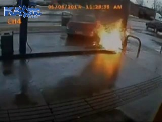 Female driver runs over attendant setting the gas station on fire