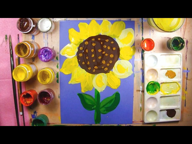 Как нарисовать подсолнух урок рисования для детей 2 5 4 лет рисуем дома поэтапно