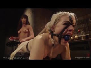 Femdom lezdom bondage ballgag harness spanking