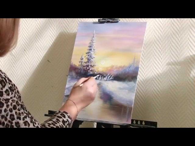 Мастер-класс от художника Александры Юровой по написанию картины маслом на тему Зимний лес