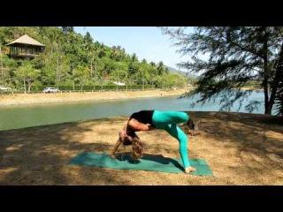 Urdhva dhanurasana ( variation ) Bridge pose with half lotus