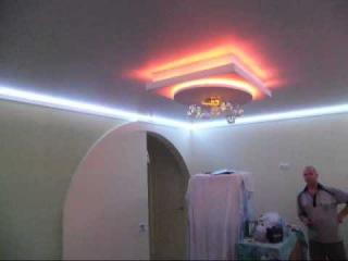 потолок с подсветкой,LED-лента,диодная лента,квадрат из ГВЛ,гипсокартон