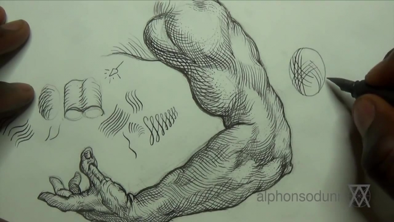 Pen Ink Drawing Tutorials How to shade the arm with crosshatching
