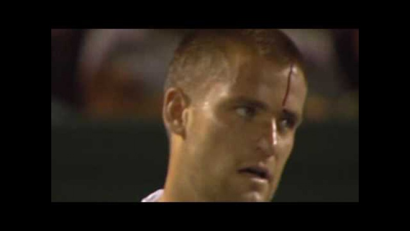 Youzhny reacts badly to losing point - hits his racquet against his head | Miami Open 2008
