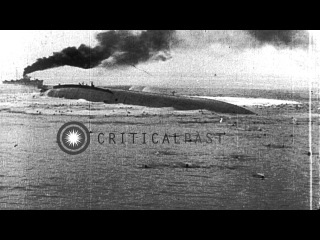 Austro-Hungarian Battleship, SMS Szent Istvan is torpedoed and capsizes in World ...HD Stock Footage