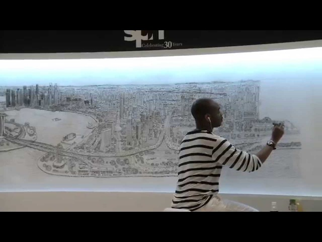 Stephen Wiltshire draws Singapore skyline from memory