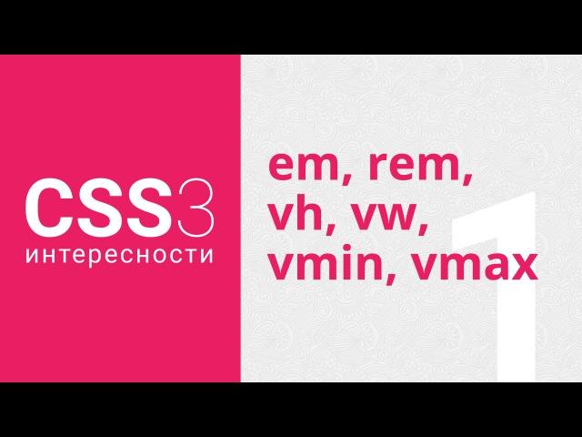 CSS3: единицы измерения em, rem, vh, vw, vmin, vmax