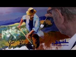 """01 - Démonstration de peinture au couteau par Christian Jequel: """"Moisson"""""""