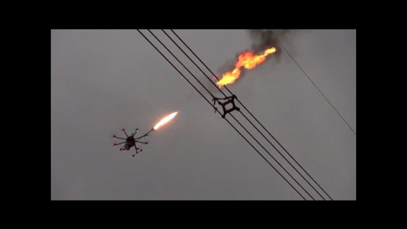 Flame Throwing Drone Helps Remove Net on UHV Power Line