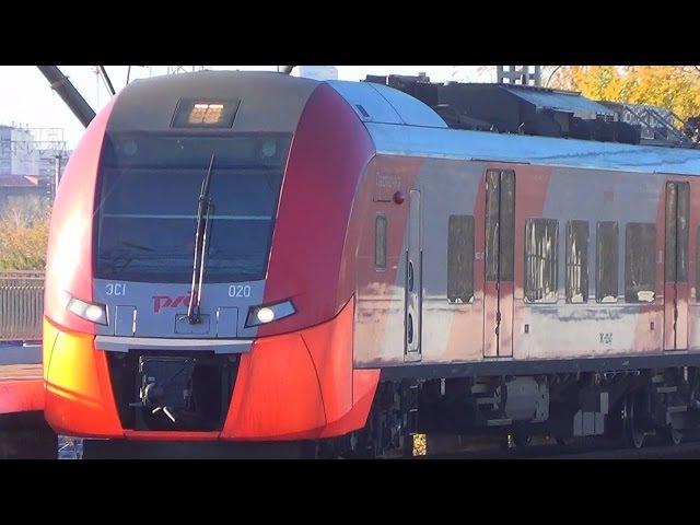 Электропоезда ЭС1-020 ЭС1-011 Ласточка, проследует платформу НАТИ