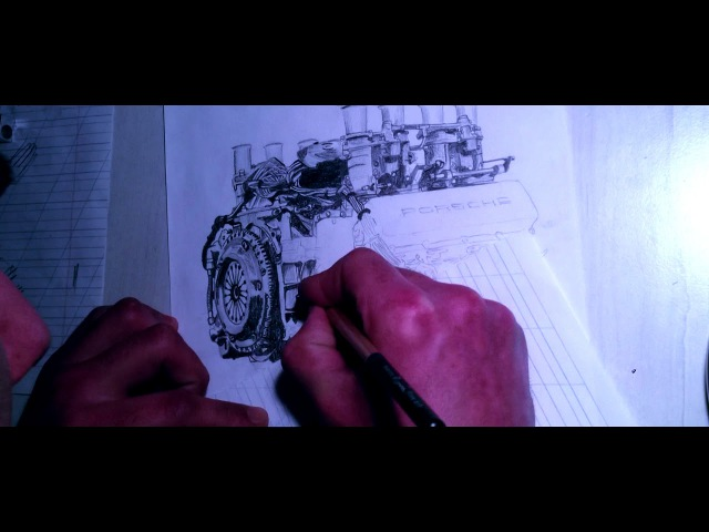 Drawing a Porcshe 904 engine