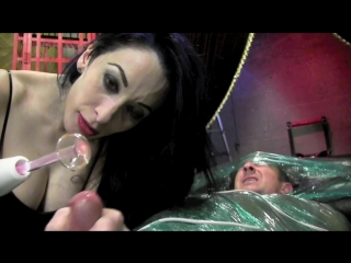 Domnation coconed for testicle torment. starring mistress january seraph. [mistress, domination, handjob, milking, vibrator]