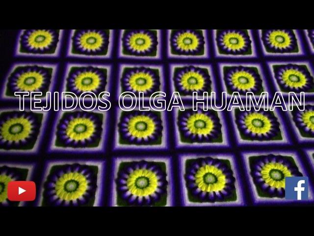 Cuadrado a muestra a crochet doble flor dalia para colchas y cojines VIDEO 2