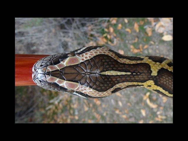 Wood Carved Burmese Python Walkingstick 57