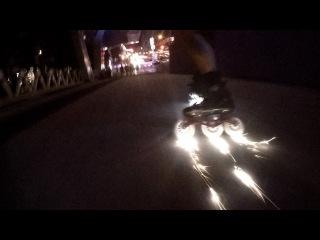 LAZER BLADING Glowing Inline Skate Wheels SHOOT SPARKS