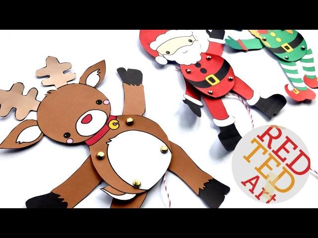 Reindeer Paper Puppets DIY Printable Rudolph Template