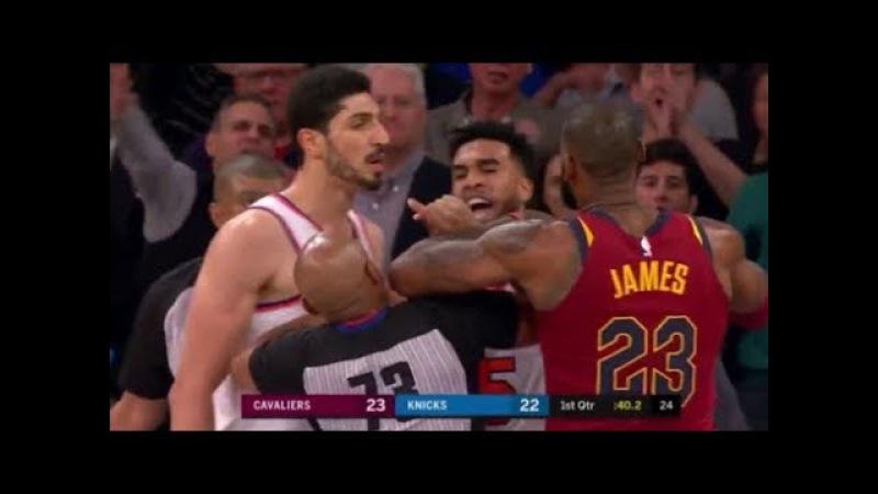 LeBron James vs Frank Ntilikina and Enes Kanter - LeBron mocks Ntilikina!