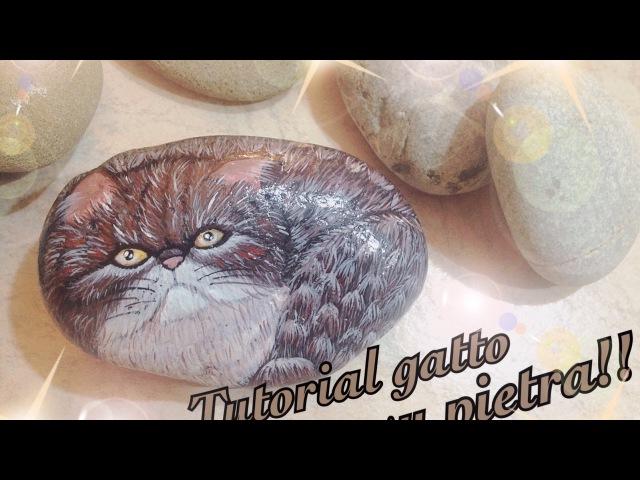 Tutorial gatto su pietra Tutorial cat on stone Painting Tutorial draw Disegno su pietra