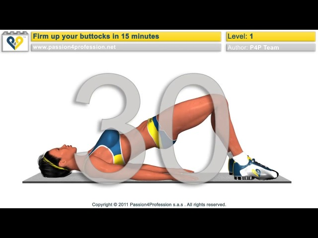 Firm up toning buttocks workout - Level 1 - No Music