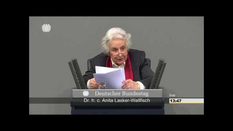 Rede von Anita Lasker-Wallfisch am 31.01.2018 vor dem Deutschen Bundestag
