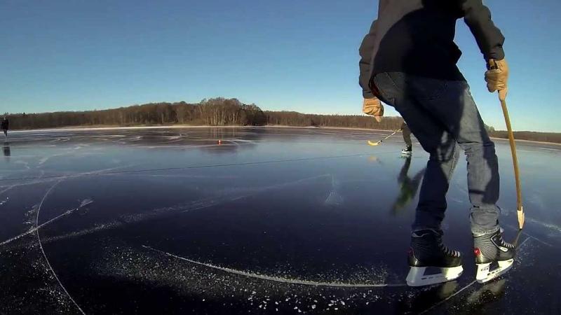 Black Ice Skating In Beautiful Weather (Gurre sø, Denmark)