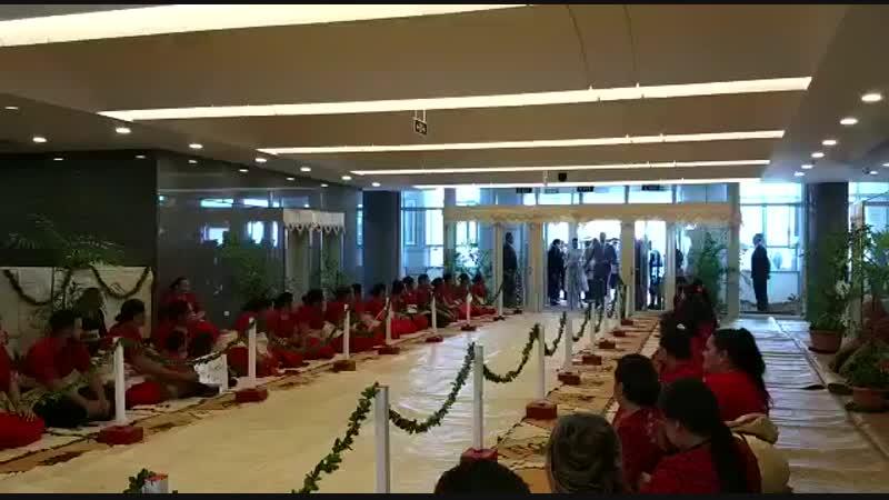 WATCH Harry Meghan in Martin Grant striped dress meet the Tongan PM Cabinet in Nuku'alofa