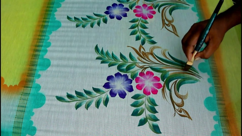 Pink and blue colours combination saree Pallu freehand painting bunches design || fabric painting