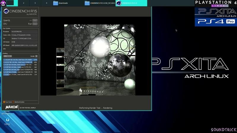 PS4 PRO CPU Benchmark Psxitarch Linux v2 CINEBENCHR 15 038