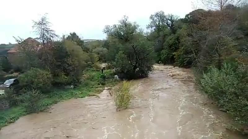 River Tyne in East Linton has seriously burst its banks eastlinton eastlothian flooding